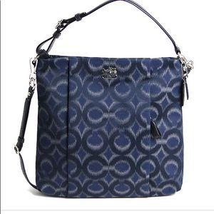Coach Navy Blue Ikat Fabric Hobo Crossbody Bag.
